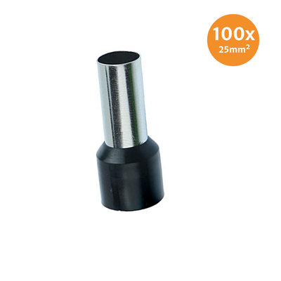 Electric End Terminal Insulated 25mm² Black 100 Pieces