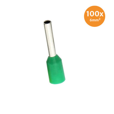 Electric End Terminal Insulated 6mm² Green 100 Pieces