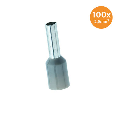 Electric End Terminal Insulated 2,5mm² Grey 100 Pieces