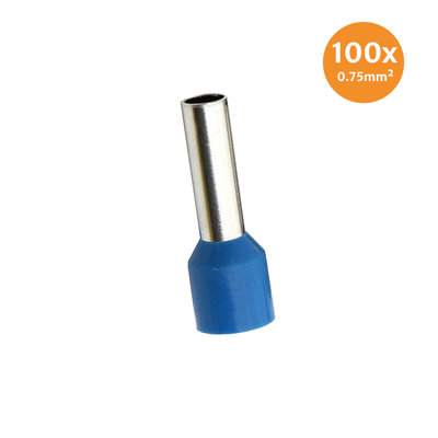 Electric End Terminal Insulated 0,75mm² Blue 100 Pieces