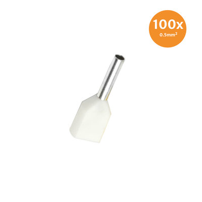 Twin Entry End Terminal Insulated 0,5mm² White 100 Pieces