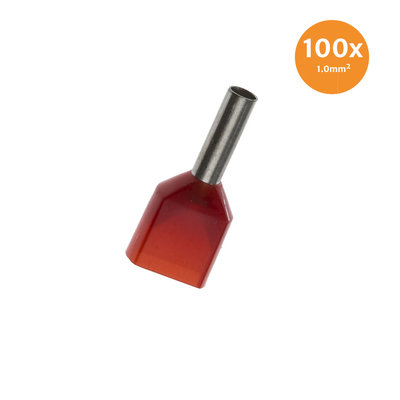 Twin Entry End Terminal Insulated 1mm² Red 100 Pieces