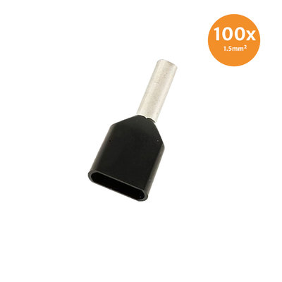 Twin Entry End Terminal Insulated 1,5mm² Black 100 Pieces
