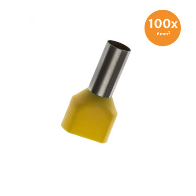 Twin Entry End Terminal Insulated 6mm² Yellow 100 Pieces