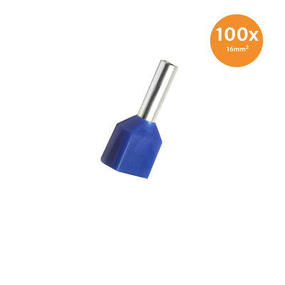 Twin Entry End Terminal Insulated 16mm² Blue 100 Pieces