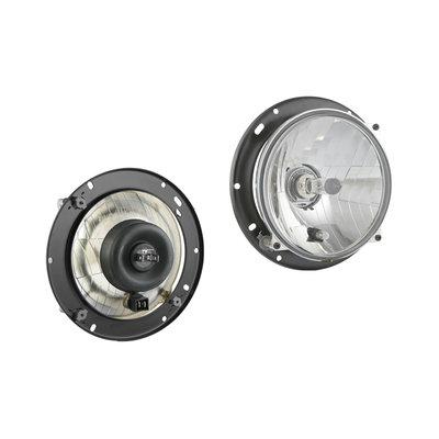 Headlamp H4 Ø182x75 + 12V Bulbs en Mounting Plate