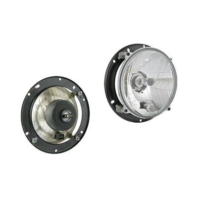 Headlamp H4 Ø182x77 Including 12V Bulbs and Mounting Plate