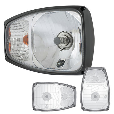 Headlight With Direction Indicator Right + 12V Bulbs