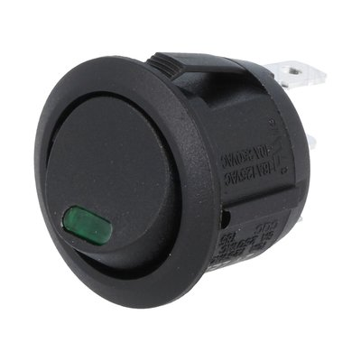 Built-in Rocker Switch Round 24V 10A Green