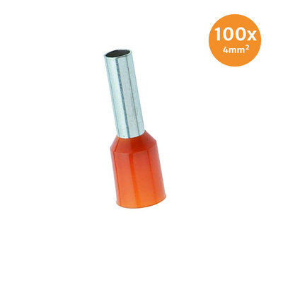 Electric End Terminal Insulated 4mm² Orange 100 Pieces