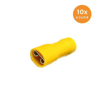 Fully Insulated Crimp Female Disconnectors Yellow (6,4x0,8mm) 10 Pieces