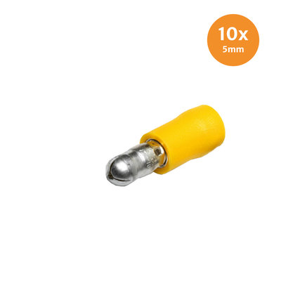 Pre-Insulated Male Bullets Yellow (4-6mm) 10 Pieces