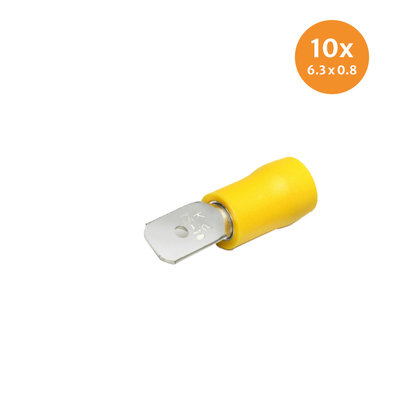 Insulated Blade Terminals Yellow (6,3x0,8mm) 10 Pieces