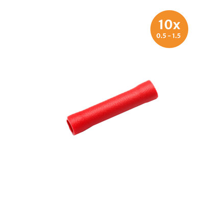Insulated Butt Connectors Red (0.5-1.5mm) 10 Pieces