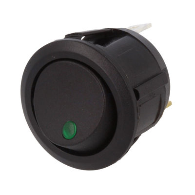 Built-in Rocker Switch Round 12V 20A Green