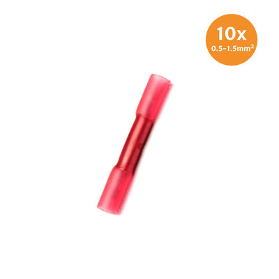 Cable Shoes With Heat Shrink Waterproof Red (0.5-1.5mm) 10 Pieces