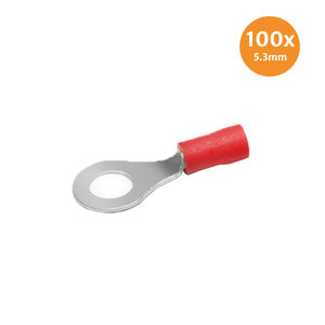 Pre-Insulated Ring Terminal Red 5.3mm 100 Pieces